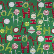 JAM Paper® Christmas Design Wrapping Paper- 2.3sqm - Holographic Green Ho Ho Ho - Sold Individually