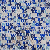 JAM Paper® Christmas Design Wrapping Paper- 2.3sqm - Silver & Blue Christmas Greetings - Sold Individually