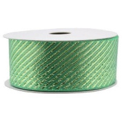 Spritz Fabric Ribbon - 2.5cm - 1.3cm X 6.1m Metallic Green