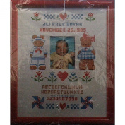 Butterfield Bear Counted Cross Stitch Sampler Vintage 1986 Birth Current