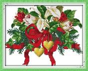 Good Value Cross Stitch Kits Beginners Kids Advanced - Christmas Bouquets 11 CT 46cm x 38cm , DIY Handmade Needlework Set Cross-Stitching Accurate Stamped Patterns Embroidery Home Decoration Frameless