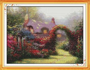 Good Value Cross Stitch Kits Beginners Kids Advanced - Garden Cabin 11 CT 70cm x 50cm , DIY Handmade Needlework Set Cross-Stitching Accurate Stamped Patterns Embroidery Home Decoration Frameless