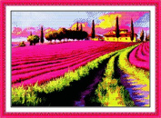 Good Value Cross Stitch Kits Beginners Kids Advanced - Lavender Garden 11 CT 60cm x 46cm , DIY Handmade Needlework Set Cross-Stitching Accurate Stamped Patterns Embroidery Home Decoration Frameless