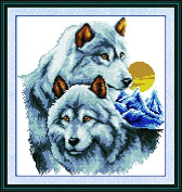 Good Value Cross Stitch Kits Beginners Kids Advance - The Wolf Partners 41cm x 43cm , DIY Handmade Needlework Set Cross-Stitching Pre-printed Patterns Embroidery Home Decoration