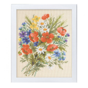 Orimupasu cross stitch embroidery kit Flower Garden friendly flower embroidery amount Summer poppy beige 7282