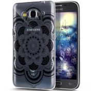 Galaxy Core Prime Case,ikasus Crystal Clear Black Art Series Scratch-Resistant Ultra Slim Flexible Frame Silicone Soft TPU Bumper Rubber Protective Case Cover for Samsung Galaxy Core Prime G360,J