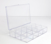 Clear 12 Compartment Hinged Plastic Box - 4 Pieces