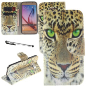 Galaxy S6 Case, Urvoix(TM) Card Holder Stand Leather Wallet Case - Fierce Leopard Flip Cover for G920 Samsung Galaxy S6