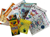 6 Adult Colouring Book Set, 24 Coloured Pencil Set, Sun Catcher to Catch the Rainbows While Colouring! Mothers Day, Birthday, Get Well, Student Suncatcher Gift