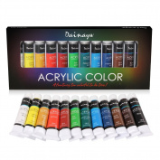 Acrylic Paint Set - Artist Quality Paints for Painting Canvas, Wood, Paper, Fabric, Nail Art, Ceramic & Crafts - 12 x 12ml - Rich Pigments - Perfect Gift or Art Supplies