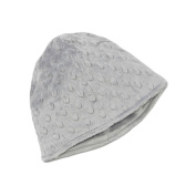 My Blankee Minky Dot Beanie with Lining, Silver, 6-12 Months