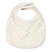 My Blankee Minky Dot Reversible Bib, Cream with Organic White Pima Cotton