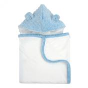 My Blankee Organic White Pima Cotton with Minky Dot Hood & Ears Terry Towel, Blue, 70cm x 110cm