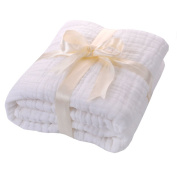 JISEN® Baby Newborn Muslin Cotton Warm Baby Bath Towels Also for Baby Blanket,Natural Antibacterial,Super Water Absorbent,Super Soft Muslin Cotton Baby Bath Towels White Cotton,Baby Gifts