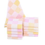 JISEN® Baby Newborn Muslin Cotton Cute Pink Square Baby Small Towels Also for Baby Nappy,Baby Shower Gifts,10 Pack