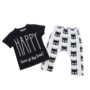 2pcs Infant Kids Baby Boys Girls T-shirt Tops+Pants Overall Outfits Clothes Set