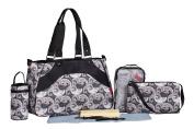 SoHo Black & Charcoal Paisley 8 in 1 Nappy bag Set