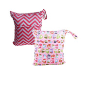 CZCCZC 2 pcs Travel Baby Waterproof Washable Reusable Wet and Dry Cloth Nappy Organiser Bag