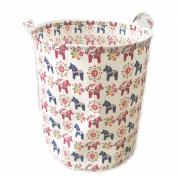 ECOHIP Large Storage Bin Cute Horse Fabric - Toy Box/ Toy Storage/ Toy Organiser for Boys and Girls - Kids Laundry Basket/ Nursery Hamper