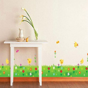Butterflies Flowers Birds Grasses Wall Sticker Paper Home Decal Removable Wall Vinyl Living Room Bedroom PVC Art Picture Murals Waterproof DIY Stick for Adults Teens Childres Kids Nursery Baby