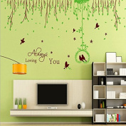 English Letters Rural Green Leaves Flying Birds Wall Sticker Paper Home Decal Removable Wall Vinyl Living Room Bedroom PVC Art Picture Murals Waterproof DIY Stick for Adults Teens Childres Kids Nursery Baby