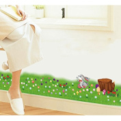 Rabbit Butterflies Flowers Baseboard Skirting Line Wall Sticker Paper Home Decal Removable Wall Vinyl Living Room Bedroom PVC Art Picture Murals Waterproof DIY Stick for Adults Teens Childres Kids Nursery Baby