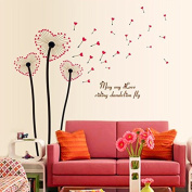 English Letters Love Dandelions Wall Sticker Paper Home Decal Removable Wall Vinyl Living Room Bedroom PVC Art Picture Murals Waterproof DIY Stick for Adults Teens Childres Kids Nursery Baby