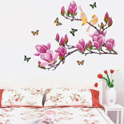 Magnolias Birds Butterflies Wall Sticker Paper Home Decal Removable Wall Vinyl Living Room Bedroom PVC Art Picture Murals Waterproof DIY Stick for Adults Teens Childres Kids Nursery Baby