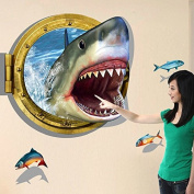 3D Style Shark Fishes Wall Sticker Paper Home Decal Removable Wall Vinyl Living Room Bedroom PVC Art Picture Murals Waterproof DIY Stick for Adults Teens Childres Kids Nursery Baby