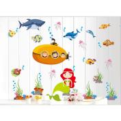 Lexitek Deep Sea Mermaid Decorative Peel & Stick Home Wall Sticker Decals