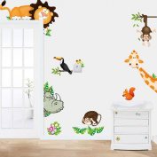 Generic 2016 Removable DIY Cute Jungle Animal Kids Baby Nursery Mural Home Decor Wall Sticker Decal