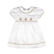 Carriage Boutique Baby Girl Elegant Spring Dress - White Tan Nautical Sailboats