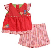 Baby girls plaid short set with matching shirt size 6-9 months