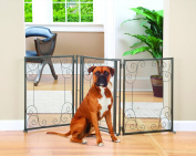 Indoor/Outdoor Scroll Metal 3 Section Pet Gate With Door