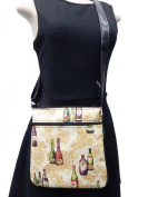 "US HANDMADE FASHION CROSS BODY ""WINE BOTTLES "" PATTERN SHOULDER BAG WITH ADJUSTABLE HANDLES, COTTON, NEW, CSOP 4032"