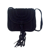 Culture Riot Isabella Suede Fringe Tassel Small Crossbody Bag, Black