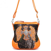 Cowgirl Trendy Fashion Women Western Camouflage Cross Body Messenger Bag Shoulder Purse Orange