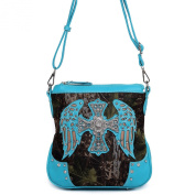Cowgirl Trendy Fashion Women Western Camouflage Cross Body Messenger Bag Shoulder Purse Turq