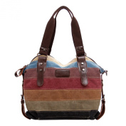 ABage Women's Tote Handbag Medium Canvas Stripe Pattern Crossbody Shoulder Tote Bag