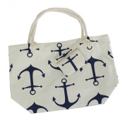 Anchor Canvas Bag Beach Tote Large Beige and Navy with Matching Coin Purse