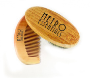Beard Brush and Comb Set- 100% Boar Bristle and Bamboo Wood Natural Grooming for Moustaches and Beards- Can Be Used with Balm Oil for Softening Itchy Beards- Soft Cotton Bag Included Perfect for Travel