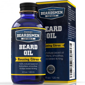 Beard Oil - Rousing Citrus Scent - Huge Man-Sized 120ml Bottle - 100% Natural - Softens Your Beard and Stops Itching - Scent Women Love - Best Beard Oil And Conditioner For Men