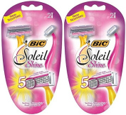 Bic Soleil Shine Razor For Women - 5 Flexible Blades - 2 Count Razors Per Package - Pack of 2