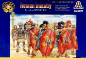 Italeri Set 6021 Roman Infantry - 10m figures, 1 mounted figure and 1 horse in this 1/72 scale plastic toy soldiers set.