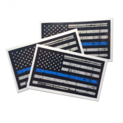 3 pack - Tattered 3M reflective Thin Blue Line 3.75 X 2.25 Decal Sticker United States Us Flag Tactical Police Law Enforcement