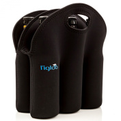 l'igloo Neoprene 6 Pack Bottle Carrier, Extra Thick Insulated Bottle Bag Keeps Drinks Cold, Use for Water, Six Pack of Beer or Milk, Also Works as Baby Bottle Holder, Comes in All Black