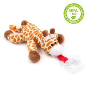 BabyHuggle 4 in 1 Plush Giraffe Pacifier - Soft Stuffed Toy with Detachable Silicone Baby Binky, Clip Holder and Squeaky Sound - 100% Non Toxic & Safe - Soothing & Comfortable for a Good Night Sleep