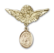 ReligiousObsession's 14K Gold Baby Badge with St. Patrick Charm and Angel with Wings Badge Pin