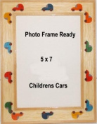 Table Top Photo Frame Wood 5x7 Childrens Decor Cars Auto Design