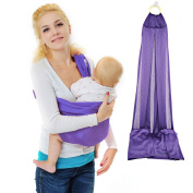 Xcellent Global Baby Wrap Ring Sling Carrier Lightly Adjustable Nursing Cover - for Newborns to 44lbs/20kg Toddlers, Baby Shower Gift, Purple HG121U